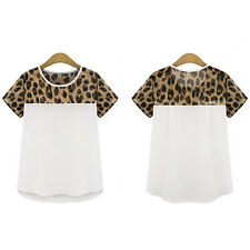 Summer New Style Women Ladies Leopard Animal Print Blouse Chiffon Top T-shirt