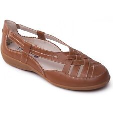 Padders DELTA Ladies Womens Leather Slip On Flat Pump Summer Casual Shoes Tan