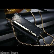 Black Patent Leather Clutch-Handbag Folio Flip Case Cover +Chain For iPhone 6/6s