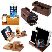 Wood Bamboo Charging Dock Station Stand Holder For Apple Watch iPhone 6s iPad