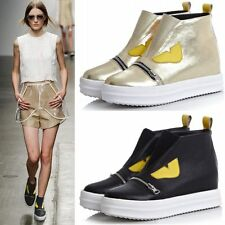 Womens Sheepskin Leather Fashion Wedge Sneakers Mid Heel Oxfords Casual Shoes