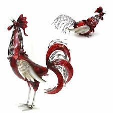 Metal Rooster Chicken Hen Red Garden Statue Figurine Ornament Sculpture