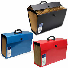 20 POCKET EXPANDING BOX FILE ORGANISER A4 DOCUMENTS PAPER FOLDER 3 COLOURS