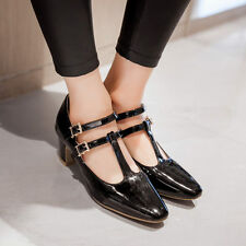 New Women Mary Jane Shoes Patent Leather T-strap Oxfords Casual Shoes Large size