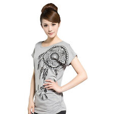 Batwing Sleeve Women Summer Paisley Shirts Casual Crew Neck Slim Fit Tops Tees