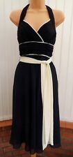 COAST MARILYN BLACK CREAM RUCHED CHIFFON 50'S HALTER COCKTAIL DRESS 10 EXCELLENT