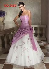 Lilac+White Prom Party Ball Gown Formal Wedding Bridesmaid Evening Dress SZ 6-16