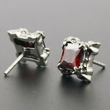 316L Stainless Steel Red CZ Stone Fashion Stud Earring G009A