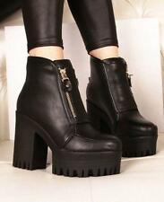 Round toe Women's Punk Shoes Chunky Heels Platform PU Leather Ankle Boots Vogue#