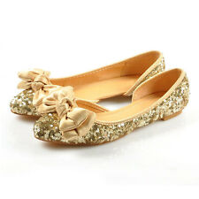 Women Fashion Sequins Bowknot Ballet Flats Shoes Pointy Toe Wedding Shoes Comfy
