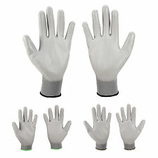 12/24 PAIRS GREY NEW PU COATED WORK BUILDERS MECHANIC CONSTRUCTION GRIP GLOVES