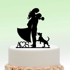 Cake Topper Personalized Initial Name Heart Dog Wedding Couple Decoration