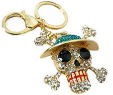 Sparkly Skull Diamante Key Chain Keyring Purse Bag Charm Goth Punk Emo Gift