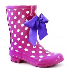 Cotswold GATCOMBE Womens Ladies Rubber Welly Bow Wellington Boots Pink Polka Dot