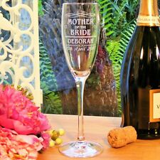 Personalised Engraved Champagne Flutes Glass Wedding Favour Gift Bridesmaid, Mum