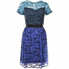 BADGLEY MISCHKA Lace Overlay Cocktail Blue Floral Fit and Flare Dress 2 6 NWT