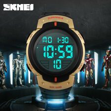 SKMEI Men Zone Fashion Wristwatches Sports Leather Watch Multi Quartz Dual LED