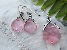 Light Rose Pink Crystal Briolette Drops Sterling Silver Necklace & Earring Set