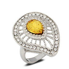 18K White Gold Plated Yellow Crystal Ring Women Jewelry CZ Rhinestone Lady Gift