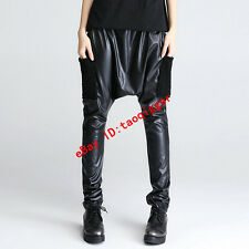 punk rock women hip-hop low-grade harem pants loose fit chic pu leather baggy