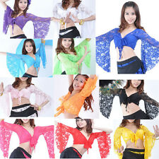Belly Dancing Costume Dance Wear Flared Sleeve Pierced Tops Lace Blouse HOT