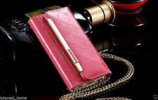 Patent Leather Bright Pink Clutch-Handbag Folio Flip Case +Chain For iPhone 6/6s