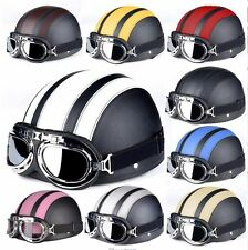 PU Leather Motorcycle Helmets Bicycle Helmets Open Half Face Visor Goggles