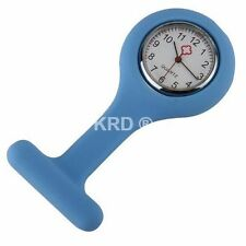 LIGHT BLUE Silicone Nurse Fob Watch Brooch Tunic Watch & Free Battery SELLER