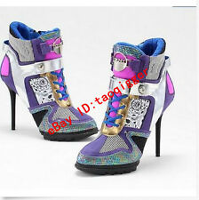 2016 Fashion Women's High Top Sneaker High Heel Stilletto Multi-Color Pump Shoes