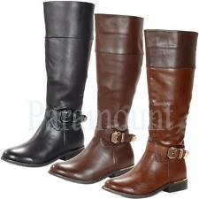 Annie Gold Buckle Leather Knee High Flat Boots   Womens Size
