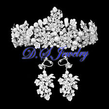 Luxury Clear Swarovski Crystal Rhinestones Cluster Earring Clip & Crown / Tiara