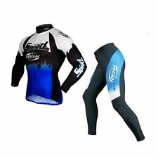 Sobike Cycling Suits Men's Long Sleeve Jersey & Tights Pants-Roaring Flame Blue