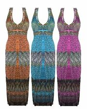 Ladies Women CHIFFON Beaded Halter Neck Padded Bra Summer Long Maxi Floral Dress