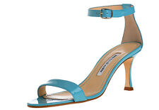 $745 New Manolo Blahnik CHAOS Turquoise patent leather Sandals Shoes 40 40.5 41