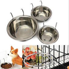 New Stainless Steel Hanging Bowl Feeding Bowl Pet Bird Dog Food Water Cage Cup