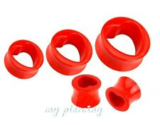 """1 PAIR 00g, 9/16, 5/8"""", 11/16"""", 13/16"""" Hollow Heart Red Acrylic Saddle Ear Plugs"""