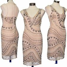 Embellished dress bodycon beaded sequin gatsby deco 20's Size 4 6 8 10 12 14
