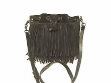 REBECCA MINKOFF Black Fiona Fringe Bucket Crossbody-Retail $275