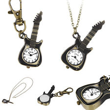 Fashion Alloy Creative Guitar Pocket Watches Pendent Necklace Key Chain Watch