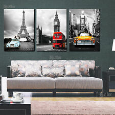 NYC Paris London easy hang mounted canvas wall art print/better than stretched