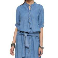 Fashion Women Half Sleeve Denim Casual Party Tunic Stand Collar With Belt Dress