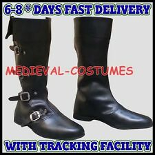 Medieval Leather Boots Black Re-enactment Mens Larp Role Play Costume Boot A27