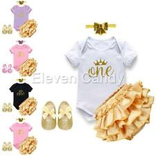 4PCS Baby Girls Romper Jumpsuits Bloomers Set 1st Birthday Outfit Headband Shoes