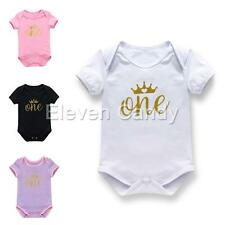 One Piece Baby Girl Infant Romper Jumpsuit Bodysuit Shiny 1st Crown Outfit 6-18M