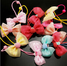 10x Multicolor Kids Girl's Lace Hair Bow Flowers Hair Clips Hair Rubber Bands