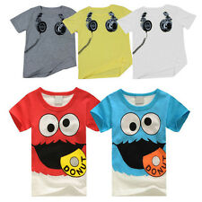 Boy Short Sleeve T Shirt Cartoon Print Crew Neck Baby Kids Tops Toddler Tee BGO