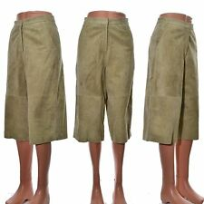 Leather culottes suede light green skirt trousers pockets lined UK size 8 10