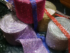 Rhinestone ribbon/diamond wrap mesh sparkling silver crystal roll bling 1 YARD