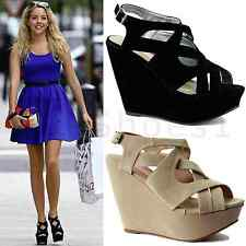 WOMENS LADIES ANKLE HIGH PLATFORM WEDGE HEEL STRAPPY SUEDE SANDAL SHOES SIZE