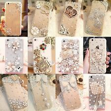 Luxury 3D Handmade Jewelled Pearl Crystals Diamond Case Cover For iPhone Samsung